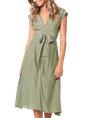 Sundress V Neck Daily Casual Stripes Midi Dress