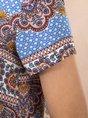 Multicolors Paisley Crew Neck Boho Printed Tunic