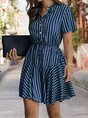 Stand Collar  A-Line Daily Stripes Mini Dress