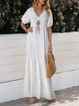 Sundress White Swing Beach Solid Maxi Dress