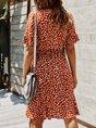 Summer A-Line Date Printed  Midi Dress