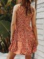 V Neck  A-Line Holiday Boho Polka Dots  Mini Dress