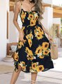 Square Neck Holiday Floral  Midi Dress