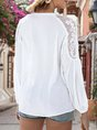 White Tie-Neck Casual Paneled Blouse