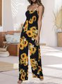 Holiday Sleeveless Floral One-Pieces Jumpsuit