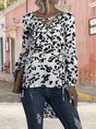 White Floral V Neck Bubble Sleeve Holiday Bblouse