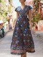 V Neck Beach Boho Floral Holiday Maxi Dress