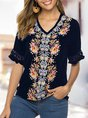 Embroidered Shift Holiday Short Sleeve  Top