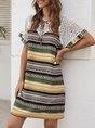 Tie-Neck Shift Tribal Lace Paneled Midi Dress