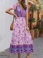 V Neck A-Line Boho Floral Maxi Dress