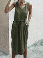 V Neck Sleeveless Casual Shift Midi Dress