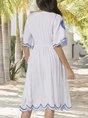 V Neck White Boho Floral Embroidery Mini Dress