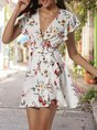 V Neck White Boho Floral Mini Dress