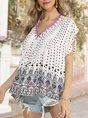 Boho V Neck Printed Short Sleeve Top