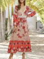 V Neck Holiday Floral Maxi Dress