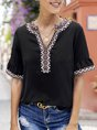 Solid Holiday Short Sleeve Embroidered Blouse