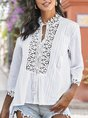 Solid Guipure Lace Blouse