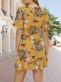 V Neck Yellow Holiday  Mini Dress