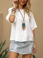 White Crew Neck Solid Shift Casual Top