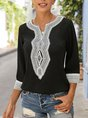 Summer 3/4 Sleeve Embroidered Holiday Top