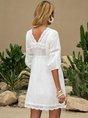 V Neck Off White A-line Boho Mini Dresses
