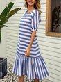 Mermaid Date Striped Midi Dress
