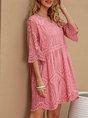 V Neck Orange Pink Boho Mini Dress