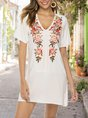V Neck Shift Holiday Embroidery Mini Dress