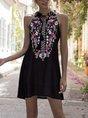 Halter Black Holiday Floral Mini Dress