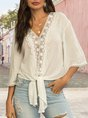White Holiday Solid Guipure Lace V Neck Blouse