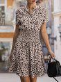 Short Sleeve A-Line Leopard Shirred Mini Dress