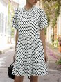 Raglan Sleeve Date Polka Dots Mini Dress