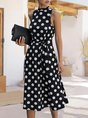 Sleeveless Daily Sweet Polka Dots Midi Dress