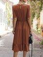 Short Sleeve A-Line Casual Gathered Midi Dress