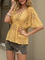 Yellow V Neck Floral-Print Short Sleeve Top
