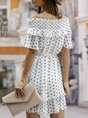 Off Shoulder  Shift Daytime Gathered Polka Dots Mini Dress