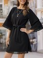 Bell Sleeve Shift Casual Solid Midi Dress