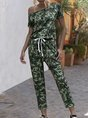 Camo Short Sleeve Casual One-Pieces Jumpsuit