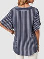 Navy Blue Casual Short Sleeve Top