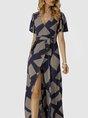 V Neck Geometric Swing Boho Maxi Dress