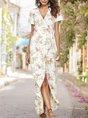 V Neck Holiday Floral Maxi Dress