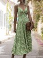 Holiday Printed Floral  Maxi Dress
