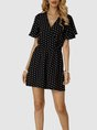 Black Dot Polka Dots V Neck Short Sleeve Romper