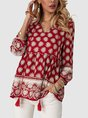 Red Gathered 3/4 Sleeve Boho Top