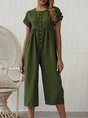 Solid Casual Crew Neck One-Pieces Jumpsuit