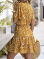 V Neck Yellow  A-Line  Holiday Floral Mini Dress