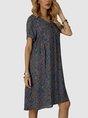 Blue Shift V Neck Floral-Print Mini Dresses