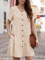V Neck A-Line Casual Solid Mini Dress
