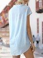 Solid V Neck Short Sleeve Simple Blouse