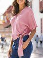 Pink Casual Solid V Neck  Blouse
